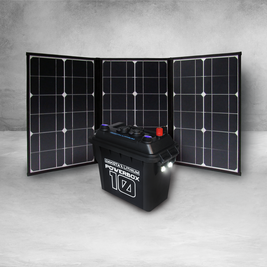 Dakota Lithium PowerBox 10 (12V Battery Included)  + Folding Solar Panel
