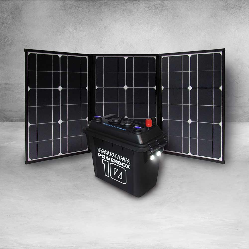 Dakota Lithium PowerBox 10 (12V Battery Included)  + Folding Solar Panel